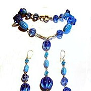 Vintage Blue Glass Parure - Lariat Necklace & Earrings