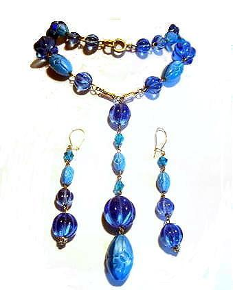 Vintage Blue Glass Parure - Lariat Necklace & Earrings