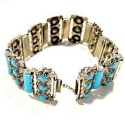 Vintage Art Deco Czech. Glass Turquoise Bracelet