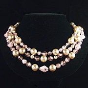 Retro Pink Givré Glass Faux Pearl Triple Row Bib Necklace