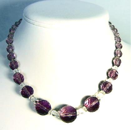 Vintage Art Deco Amethyst Purple Glass Beads Necklace
