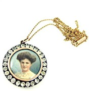 English Victorian Silver Gilt and Paste Picture Locket