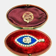 Large English Georgian 18 Ct. Gold Enamel & Pearl Picture Locket