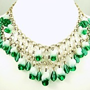 1940s Emerald Glass Fringe Necklace and Earrings