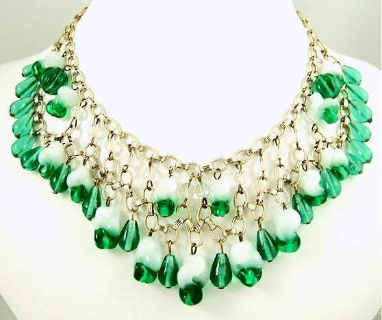 1940s Emerald Glass Fringe Necklace and Earrings Parure