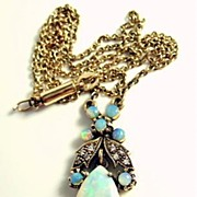 Victorian Revival Opal And Diamond Lavaliere Necklace