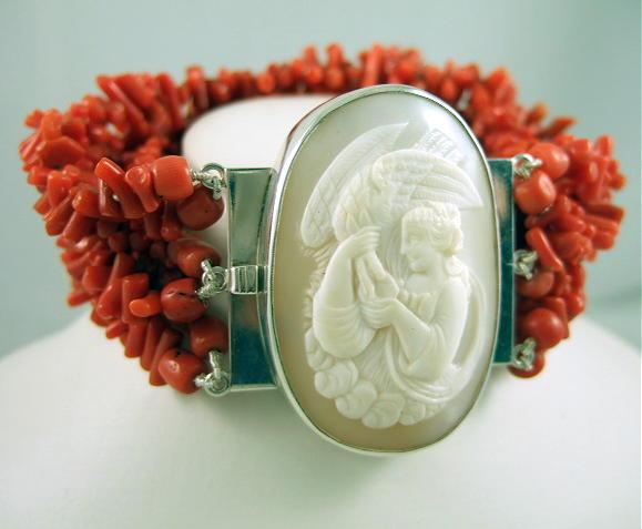 Victorian Hebe And The Eagle Cameo On Red Coral And Sterling Bracelet