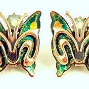 Vintage 1950s Signed Matisse Copper & Enamel Butterfly Earrings