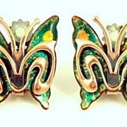 Vintage 1950s Signed Matisse Copper & Enamel Butterfly Earrings