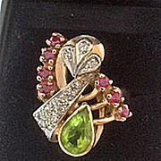 1940s Rose Gold Ruby Peridot Diamond Cocktail Ring