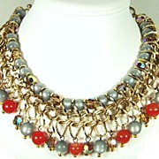 Fabulous Fifties Glass and Lucite Beaded Fringe Necklace