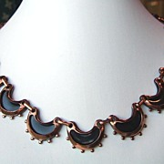 Vintage Signed Renoir Copper and Black Enamel Necklace