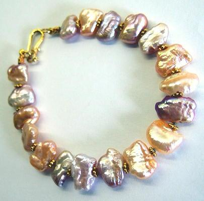 Stunning Rainbow Pearl & High Carat Gold Bracelet