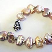 Rainbow Pastel Pearls  Sterling Silver Bracelet