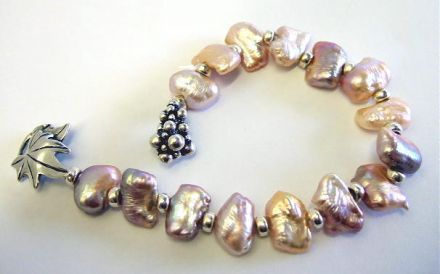 Rainbow Pearls  and Sterling Silver Bracelet