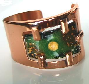 Vintage Signed Matisse Copper & Enamel Demi Parure Bracelet & Earrings