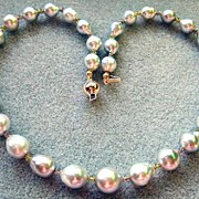 Fabulous Large South Seas Silver Champagne Baroque Pearls With Lavender Tanzanite And Green Garnets
