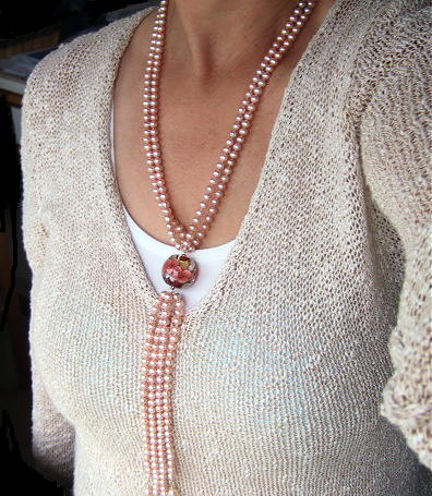Peach Pink Pearls And Lampwork Glass Double Row Lariat Necklace