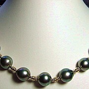 Large Charcoal Grey Tahitian Pearls and Gold Necklace