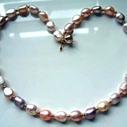 Large Multi-Colour Pearls And 14 Carat Gold Necklace