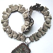 Antique English Victorian Silver & Gold Book Chain Necklace And Locket Pendant
