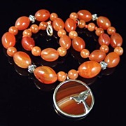 Art Deco Carnelian & Silver Pendant Necklace