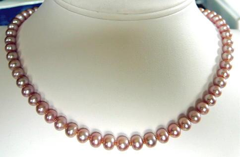 Natural Colour Pink Graduated Pearls Necklace