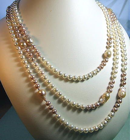 72 Inch Long Rope Flame-Ball Cultured Pearls Station Necklace
