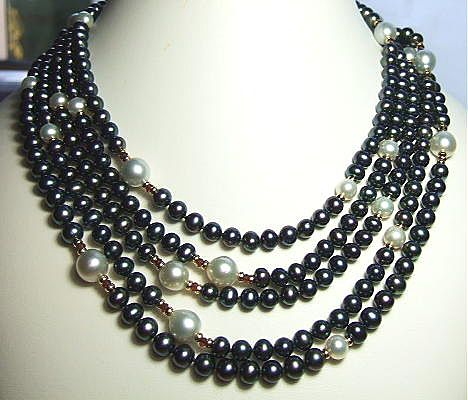105 Inches Rope Of Black And White Cultured Pearls Station Necklace