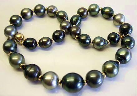 Kamoka Pearl Jumbo Tahitian Baroque Pearls And Gold Necklace