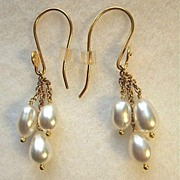 22 Carat Gold South Sea Keishi Pearl Dangles Earrings