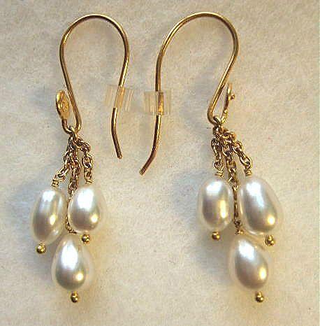 22 Carat Gold South Sea Keishi Pearl Dangles Earrings