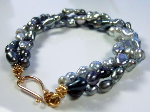 Tahitian Keishi Pearls Triple Row Torsade Bracelet