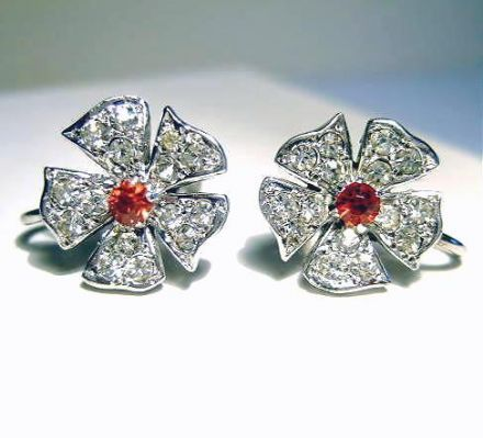 English Silver and Paste Flowers Earrings