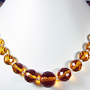 Vintage Amber Cut Glass Beads Necklace