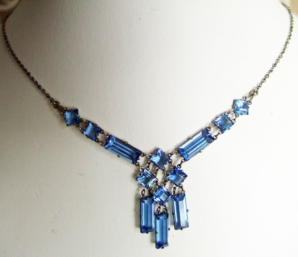 English Art Deco Blue Glass & Silver Necklace