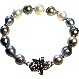 Silver Charcoal White South Seas And Tahitian Pearls Bracelet
