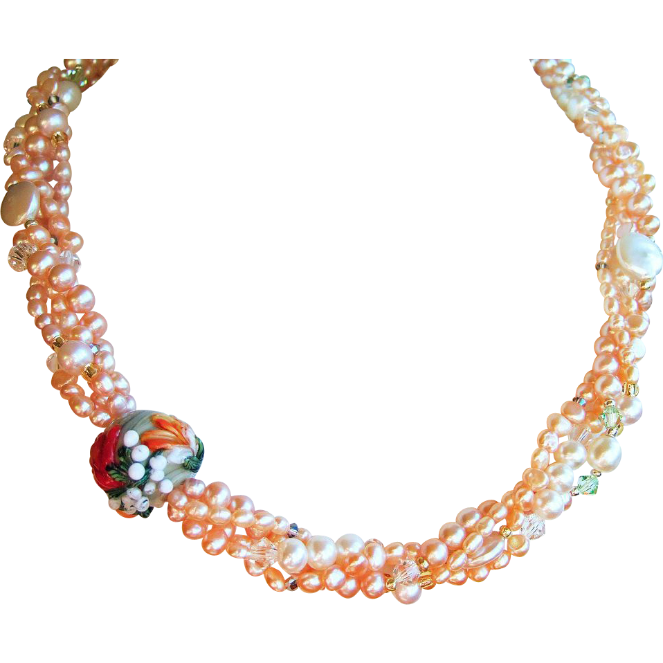 Peach Pink Pearl & Lampwork Glass Torsade Necklace