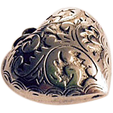 Antique English Victorian Large Silver Puffed Heart Pendant Charm