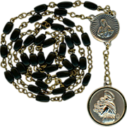 Elegant Vintage Black Glass Catholic Rosary Chaplet of St. Anthony