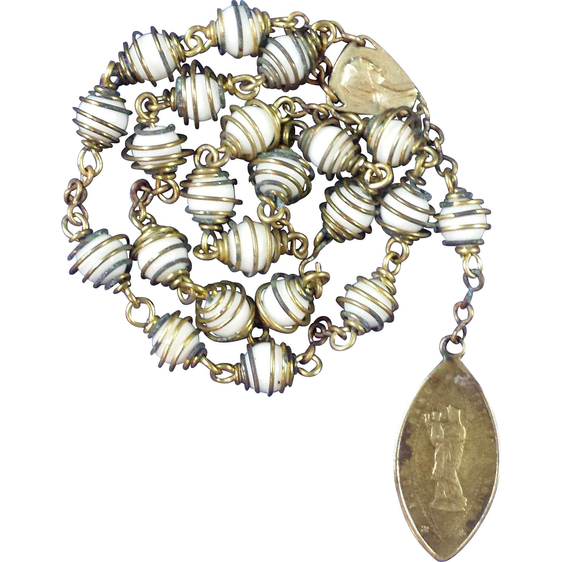 Powerful Catholic Peace Chaplet with Antique Notre Dame de France Religious Medal