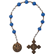"Fabulous Blue Glass ""Niner"" Chaplet – St. Anne & Madonna of the Chair Medals"
