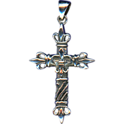 Bold Sterling Fleur-de-Lys Cross – Fancy Bail