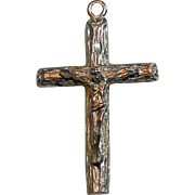 Shiny Textured Sterling Crucifix