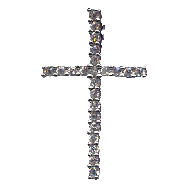 Sparkling Sterling & Cubic Zirconia Cross Pendant