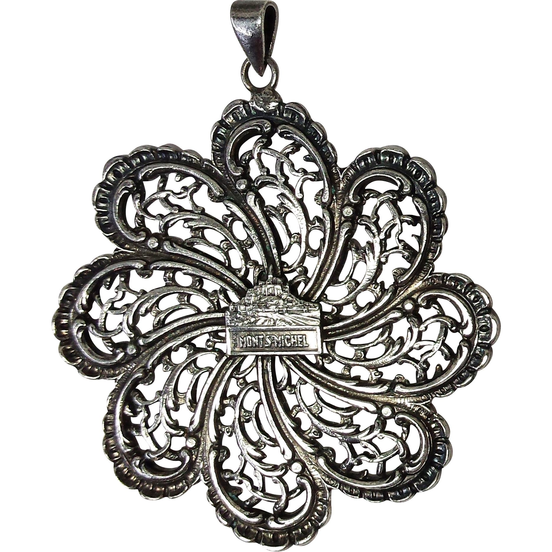 Bold Silver Swirl Pendant – Mont St. Michel