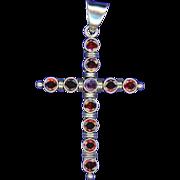 Bold Artisanal Sterling, Amethyst & Garnet Cross