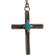 Vintage Sterling Artisanal Cross Pendant – Native American Design