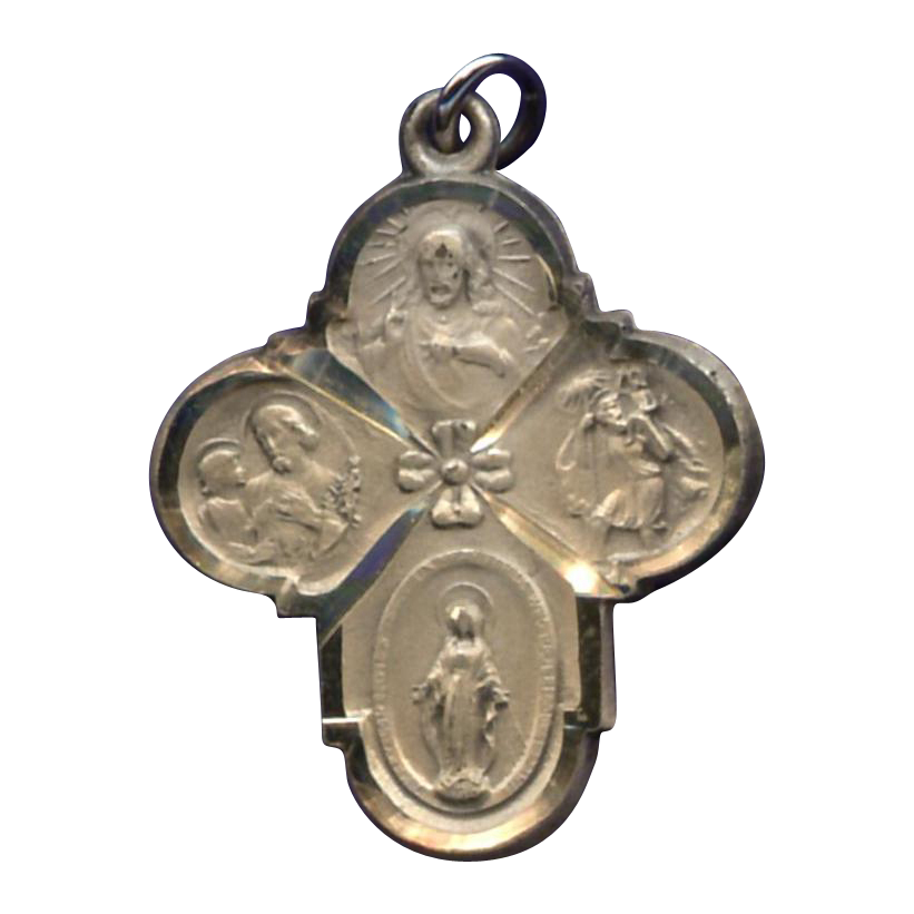 Pristine Rounded Cruciform 6-Way Medal – Hallmarked Sterling