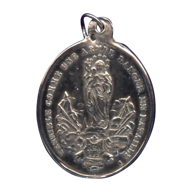 Rare WW1 Our Lady of Victory / Song of Solomon Medal – Stamped Hallmarked Silver